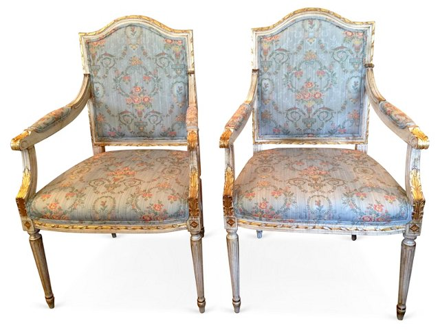 French Carved   Armchairs, Pair