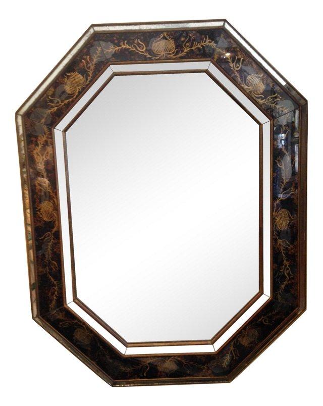 Faux-Tortoiseshell Verre Eglomise Mirror