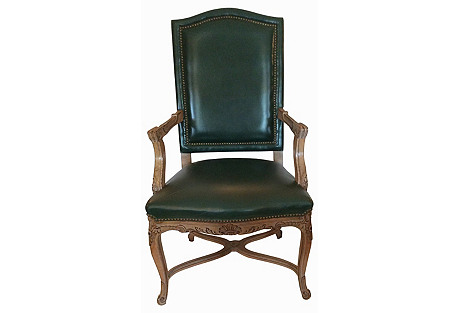 French Leather Fauteuil