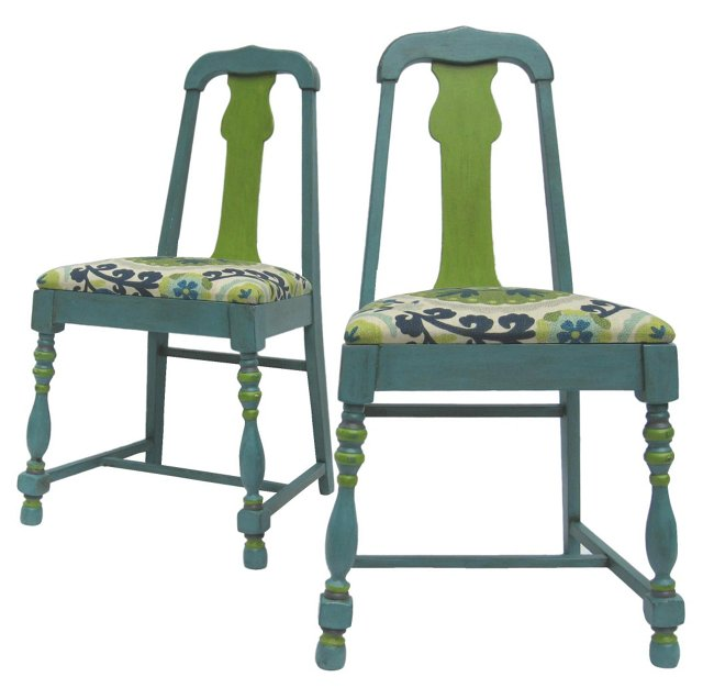 Aqua Side Chairs,  Pair