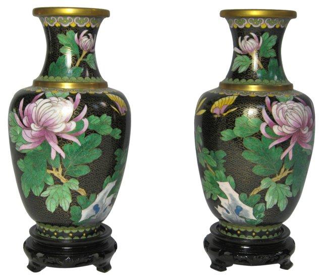 Chrysanthemum Cloisonné Vases, Pair