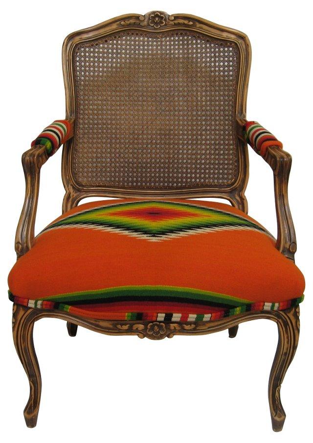 Cane-Back Armchair w/ Serape