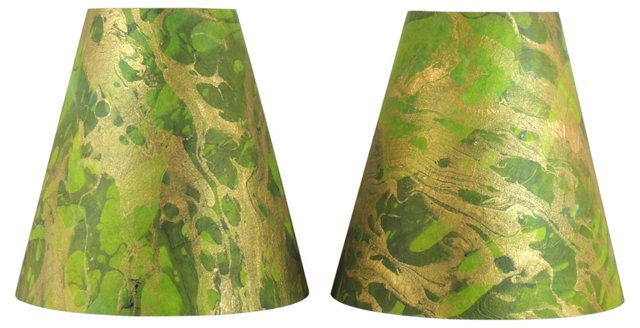 Custom Marbleized Shades, Pair