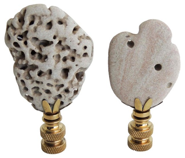 Beach Stone Finials, Pair