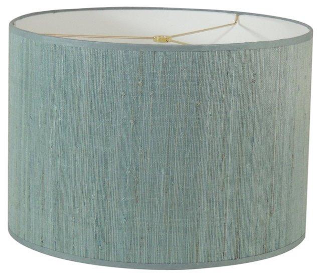 Blue Grasscloth Drum Shade