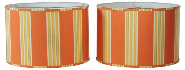 Burnt Orange Stripe Shades, Pair