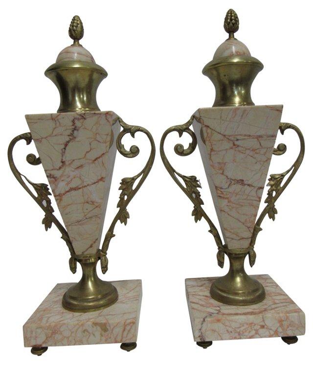 Antique Gilt & Marble Cassolettes, Pair