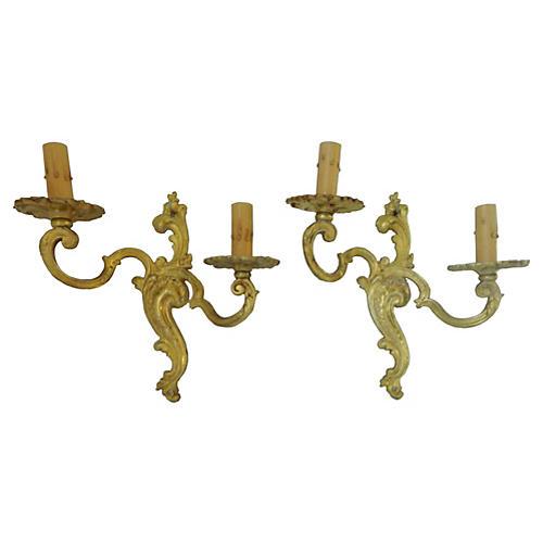French Gilt Bronze Sconces, Pair