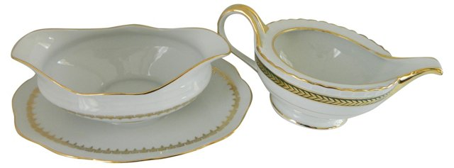 French Gold-Trim Sauce Boats, Pair
