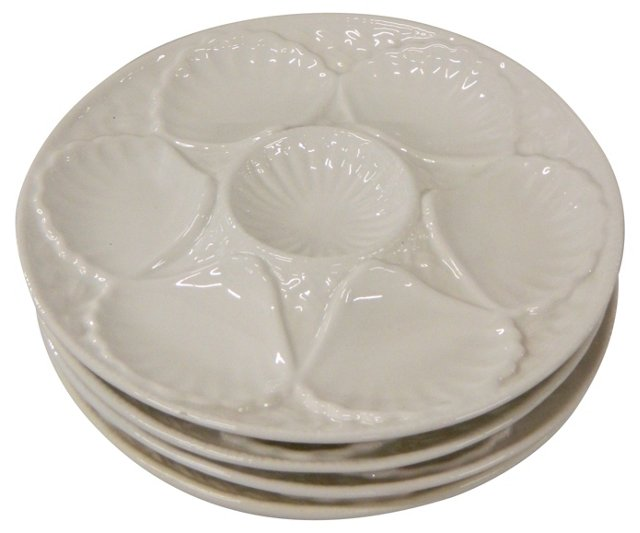 White Oyster Plates, S/4