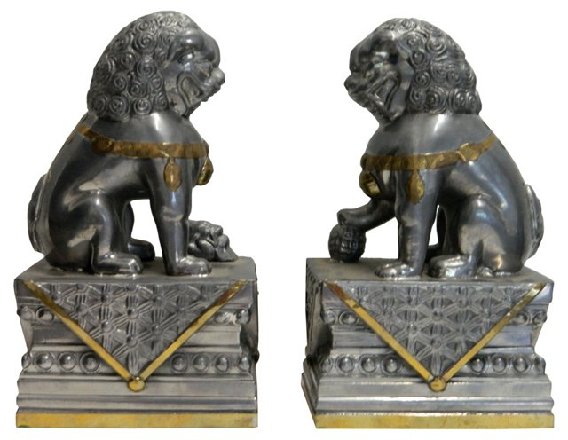 Mixed-Metal Foo Dogs, Pair
