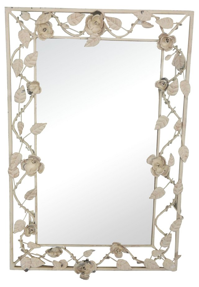 French Tole White Mirror