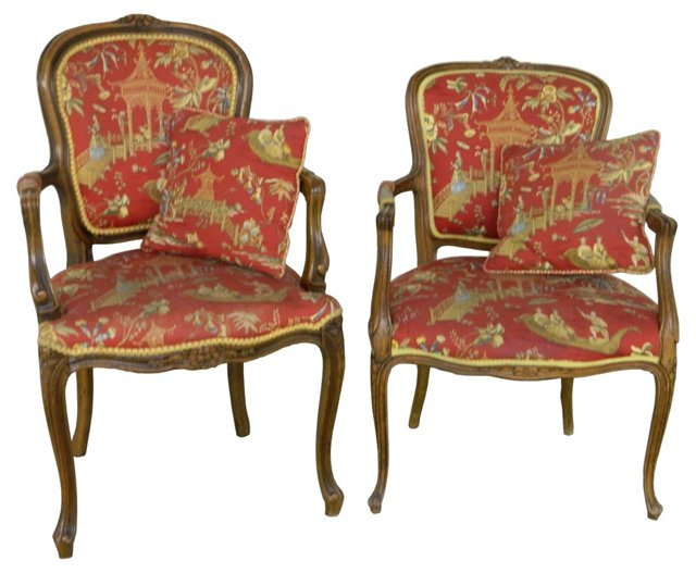Chinoiserie Chairs & Pillows, Pair