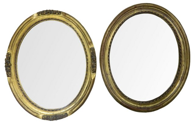 French Carved Gilt  Oval Mirrors, Pair