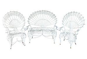 Wrought Iron Peacock Settee & 2 Chairs