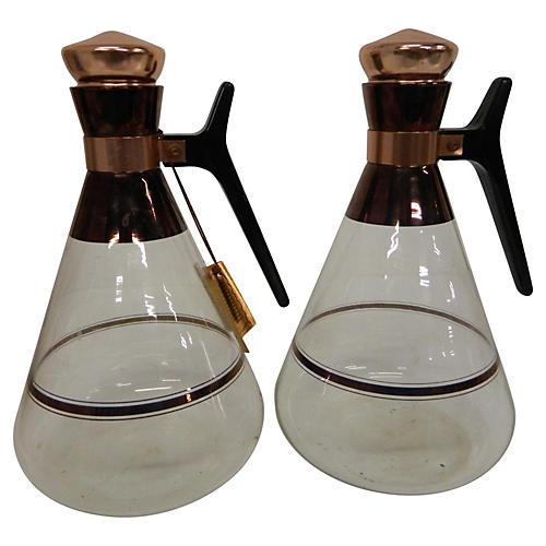 Mid Century Copper Coffee Carafes, Pair