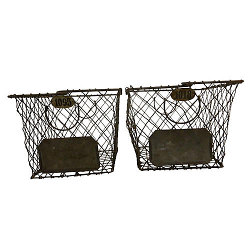 Midcentury Wire Numbered Baskets, S/2