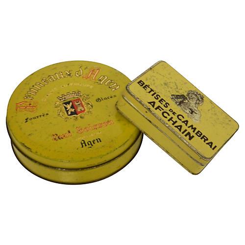 French Bonbon Tins, S/2