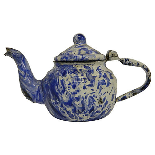 French Tole Marbled Teapot