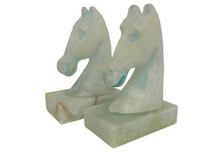 French Alabaster Aqua Horse Bookends, Pr