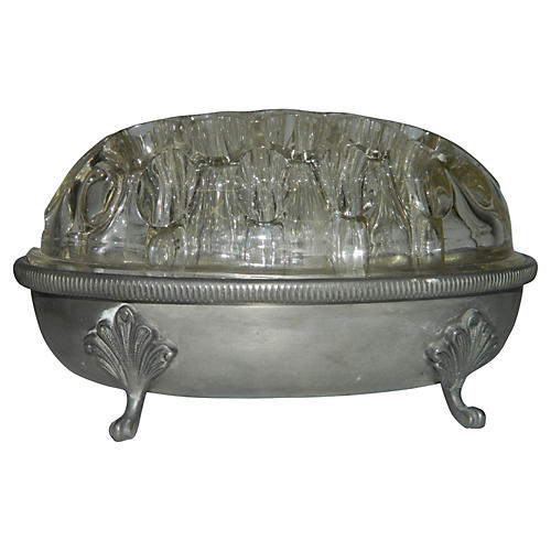 French Pewter Floral Base w/ Frog