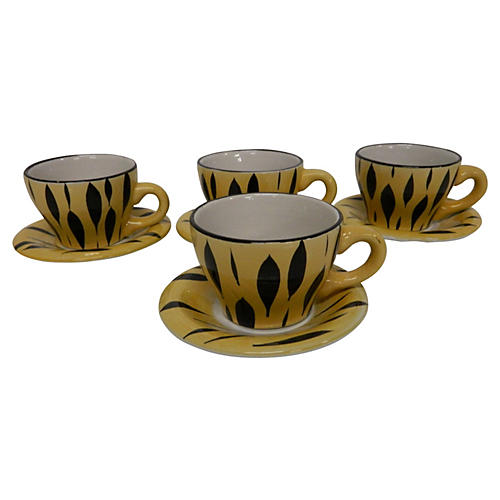 French Demitasse Cups & Saucers, S/4
