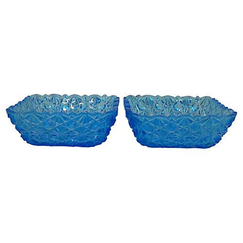 Blue Cut Glass Serving Bowls, S/2
