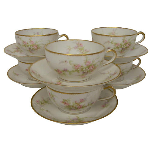 Antique Haviland Limoges Teacups, S/6