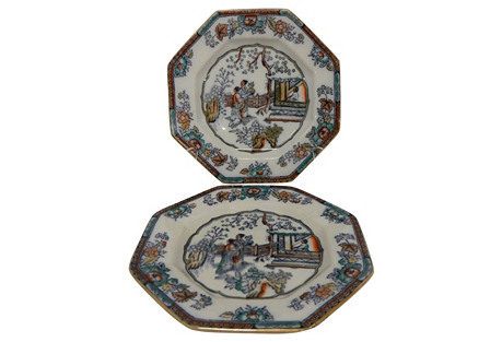 English Antique Chinoiserie Plates, Pair