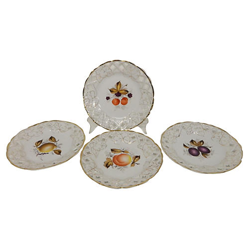 Old Paris Porcelain Dessert Plates, S/4