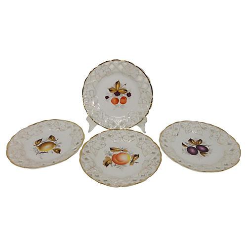 Old Paris Porcelain Dessert Plates, S/4