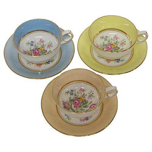 English Pastel & Gilt China Teacups S/3