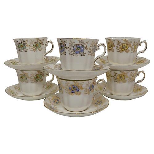 English Gilt Pansy Teacups, S/6