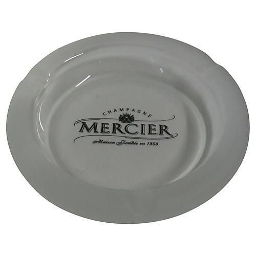 French Satin Glass Mercier Ashtray