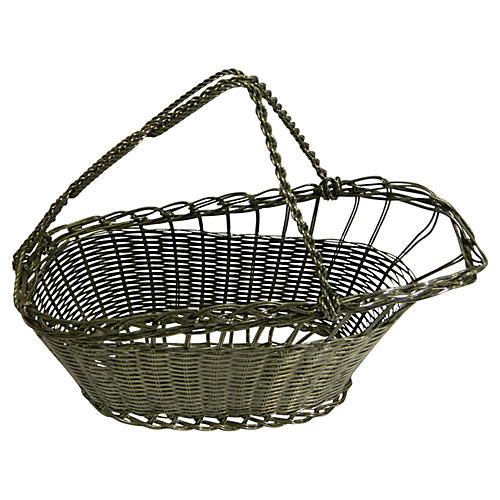 French Silver Wine Basket