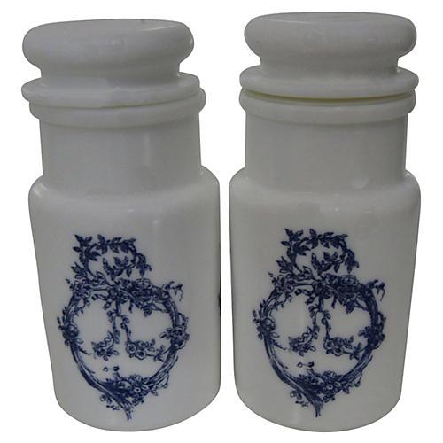 Italian Opaline Boudoir Bottles, S/2