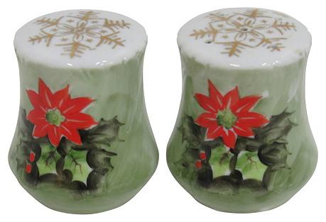English Christmas Porcelain Salt/Pepper