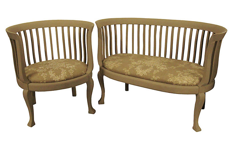 Gustavian Settee and Chair w/ Toile Seat