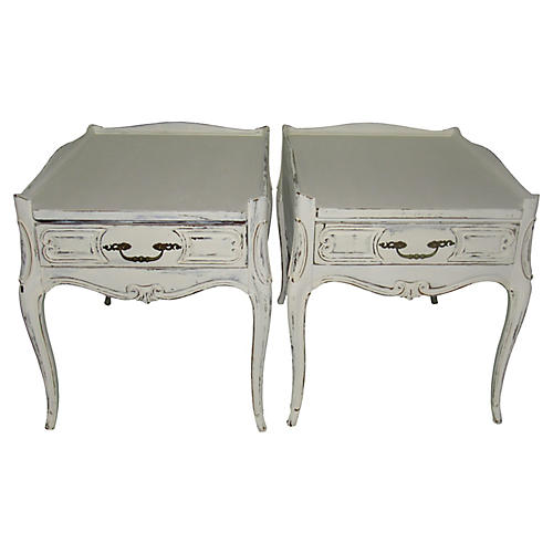 French Farmhouse Side Tables, Pair