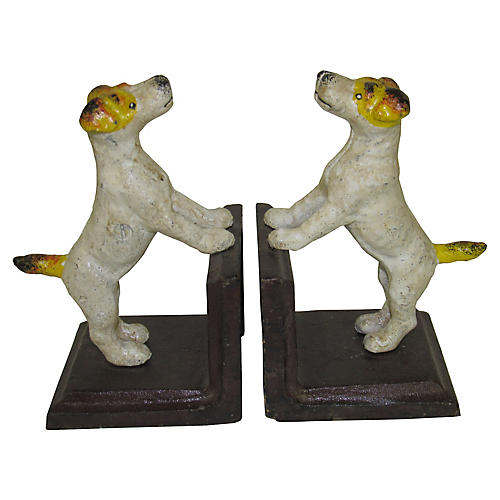 Pair Cast Iron Terrier Bookends