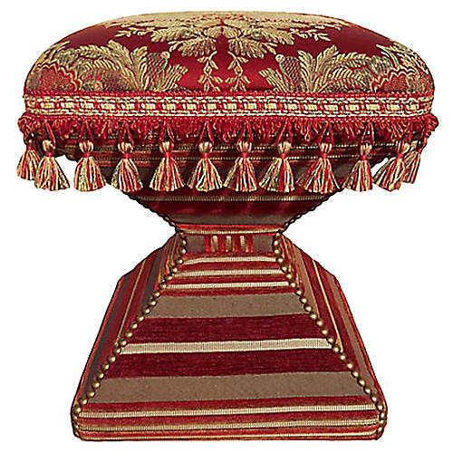 1980s Brocade Footstool