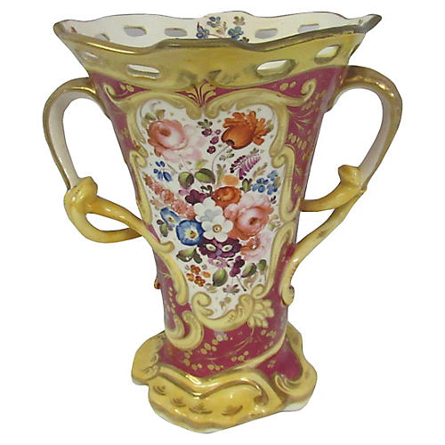 Antique Limoges Gilt Handled Vase