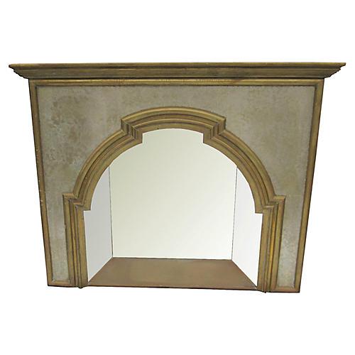 Mixed-Metal Mirror Ornamental Fireplace
