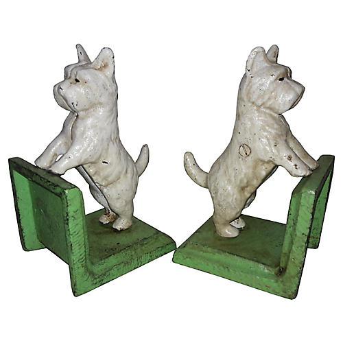 White Scottie Dog Cast Iron Bookends