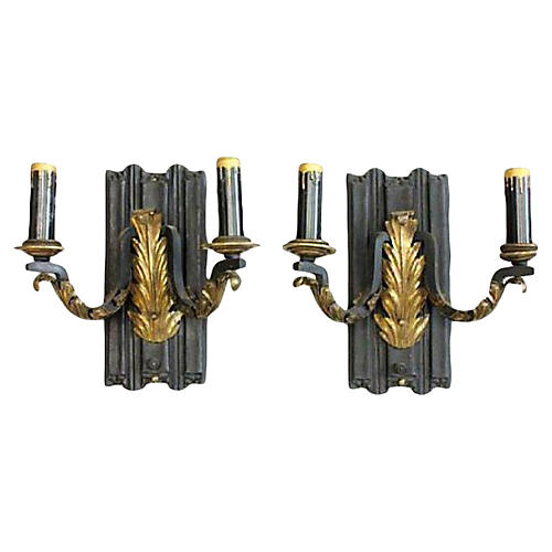 French Black Sconces, Pair