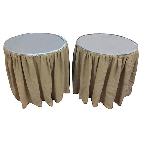 Pair Farmhouse Linen Tables