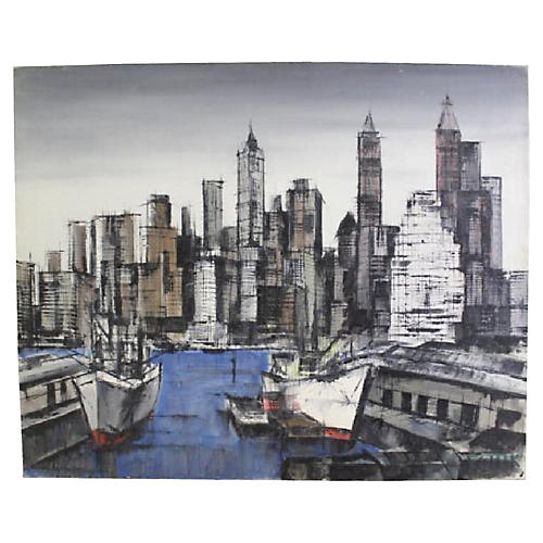 1960 N.Y. City Harbor & Skyline Abstract