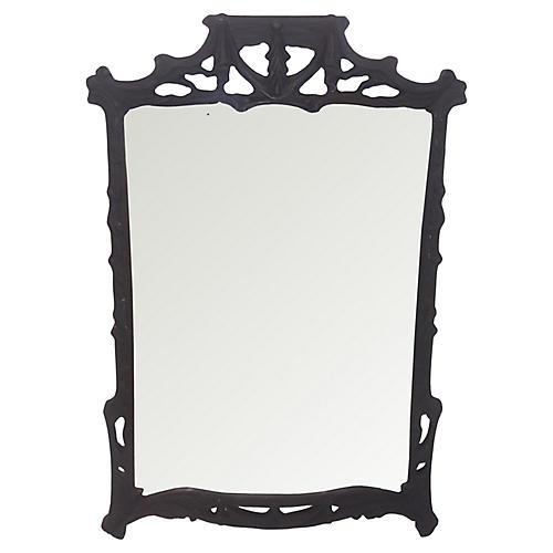 Tassel & Swag Black Carved Mirror