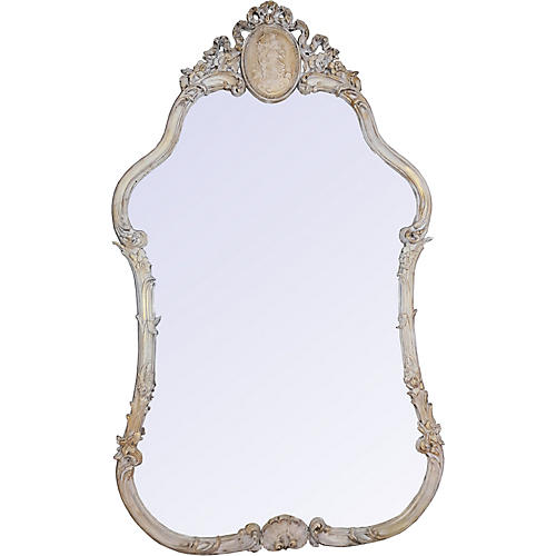 French Trumeau Medallion Painted Mirror