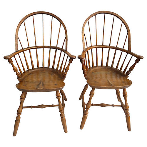Rustic Oak Windsor Chairs, S/2